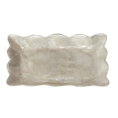 Capiz Mini Rectangular Tray with Scalloped Edge Color: Natural White