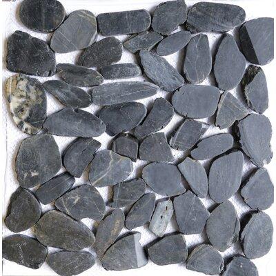 12 x 12 Natural Stone Pebble Tile in Black