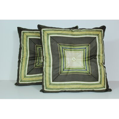 Nigel Stripe Mitred Throw Pillow Color: Olive