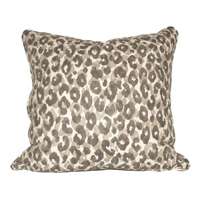 Snow Leopard Cotton Throw Pillow Color: Slate