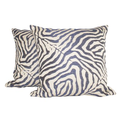 Zebra Glow Throw Pillow Color: Navy