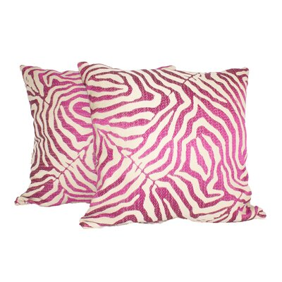 Zebra Glow Throw Pillow Color: Pink