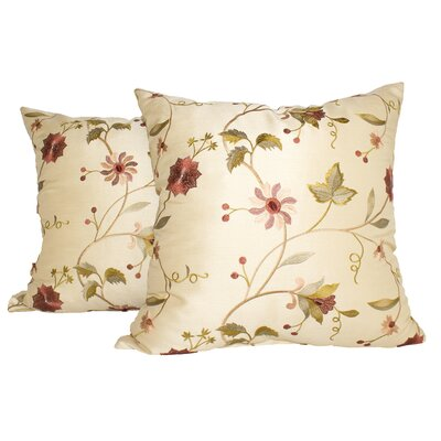 Paradise Garden Throw Pillow Color: Ivory