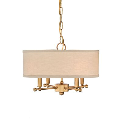 4-Light Mini Pendant Type: Antique Brass/Putty Linen