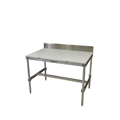 Aluminum I Frame Prep Table with Back Splash and Poly Top Size: 34 H x 48 W x 30 D