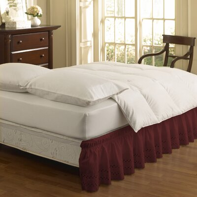 Karlisa Wrap Around Eyelet Ruffled 140 Thread Count Bed Skirt Size: 39 W X 75, Color: Burgundy