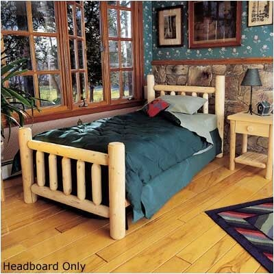Rustic Log Bed Slat Headboard Size: Queen, Color: Natural