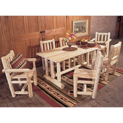Rustic Cedar Harvest Dining Set (7 Pieces)