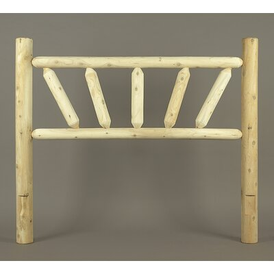 Rustic Sunburst Log Bed Open-Frame Headboard Size: King