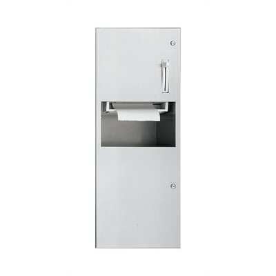 Simplicity Automatic Roll Paper Towel Dispenser and Waste Receptacle Mounting: Semi-Recessed
