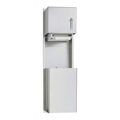 Traditional Shallow Recessed Roll Paper Towel Dispenser and 14 gal. Waste Receptacle Mounting: Surface