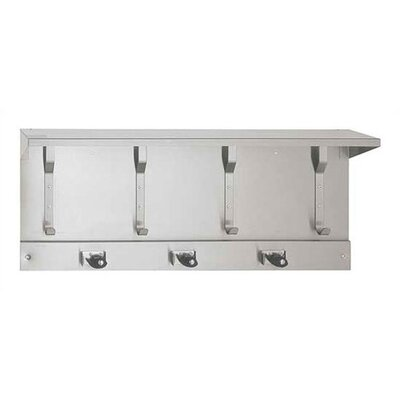 Utility Hook Strip with Shelf and Mop Holders Arrangement: 3 Mop Holders and 4 Utility Hooks 10-1308-3