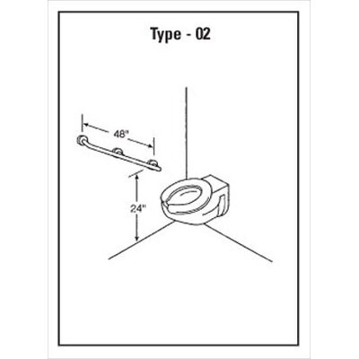 Snap Flange Mount 1.25 dia. Straight Grab Bar with Intermediate Support Length: 48