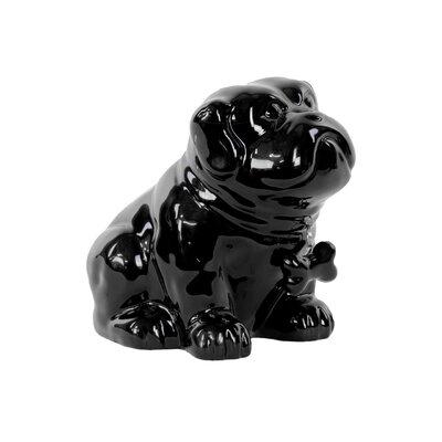 Glossed Ceramic Sitting Bulldog Puppy with Bone Pendant on Dog Collar 46721
