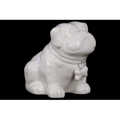 Glossed Ceramic Sitting Bulldog Puppy with Bone Pendant on Dog Collar 46722