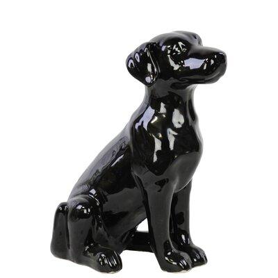 Ceramic Sitting Polish Hound Dog Gloss White Color: Black 46725