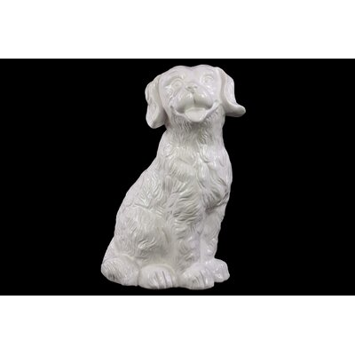 Ceramic Sitting Retriever Dog Gloss Black 46666