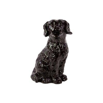 Ceramic Sitting Retriever Dog Gloss Black 46667