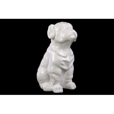 Ceramic Sitting Bulldog Gloss Black 46668