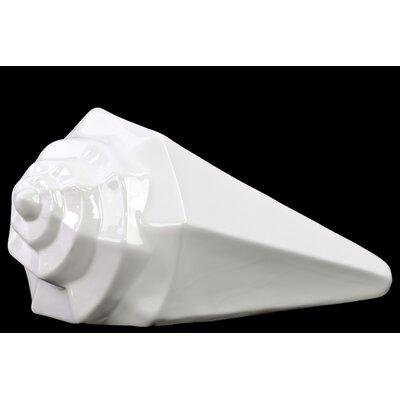 Urban Trends Ceramic Geometric Conch Seashell Flower Pot Gloss White at Sears.com