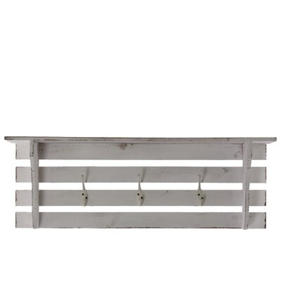 Urban Trends Wooden Wall Shelf with 3 Hooks Distressed Natural Wood Finish - Finish: White