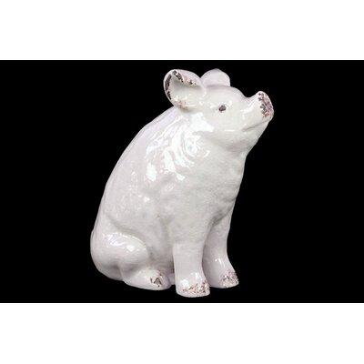 Ceramic Sitting Pig Gloss Yellow Green Finish: White