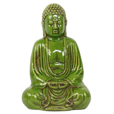Ceramic Meditating Buddha in Dhyana Mudra Gloss Yellow Green Figurine Color: Green