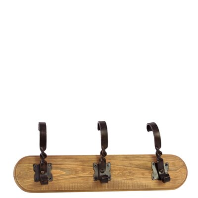 Wooden Wall Hanger with 3 Twisted Metal Hooks SM Natural Wood Finish