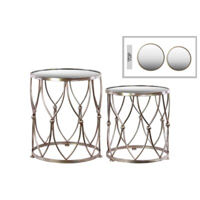 2 Piece Nesting Tables Table Base Color: Champagne