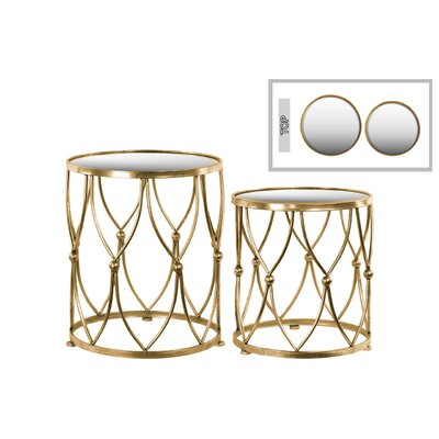 2 Piece Nesting Tables Table Base Color: Gold
