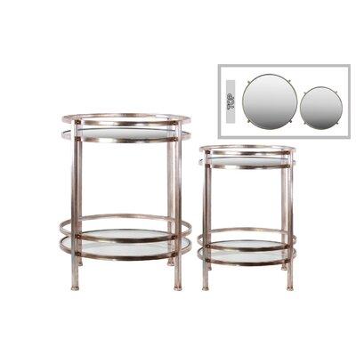 2 Piece End Table Set Color: Champagne