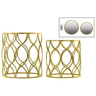 2 Piece End Table Set Color: Gold