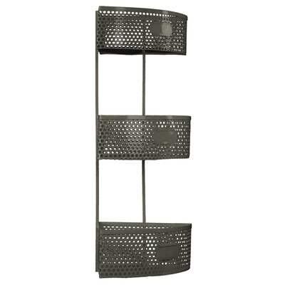 Metal Corner Shelf with 3 Tiers Perforated Sides and 3 Card Holders Finish: Gray