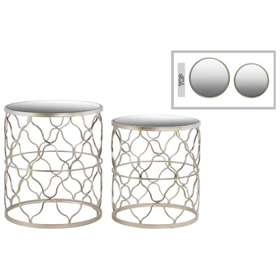 Metal Round 2 Piece Nesting Tables Color: Champagne