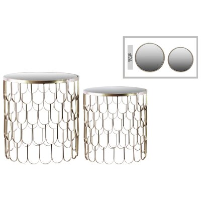Metal Round 2 Piece Nesting Tables Finish: Champagne