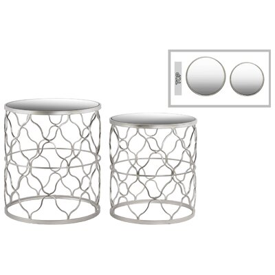 Metal Round 2 Piece Nesting Tables Color: Silver