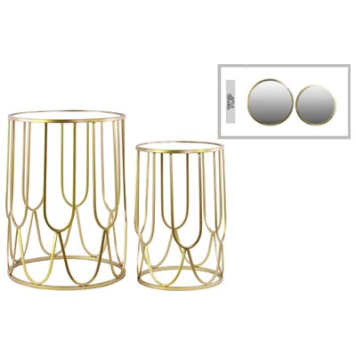 Metal Round 2 Piece Nesting Tables Finish: Gold