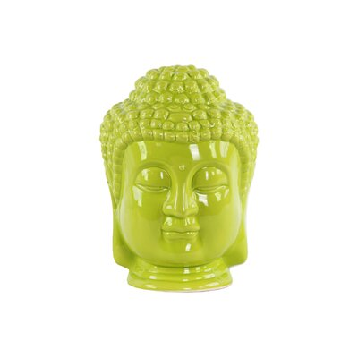 Ceramic Buddha Head Bust Color: Green 35408