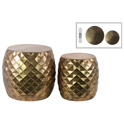 2 Piece End Table Set Finish: Gold