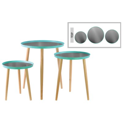 3 Piece End Table Set Color: Cyan