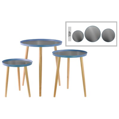 3 Piece End Table Set Color: Blue