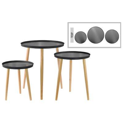 3 Piece End Table Set Color: Black