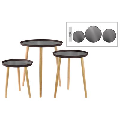 3 Piece End Table Set Color: Dark Espresso Brown