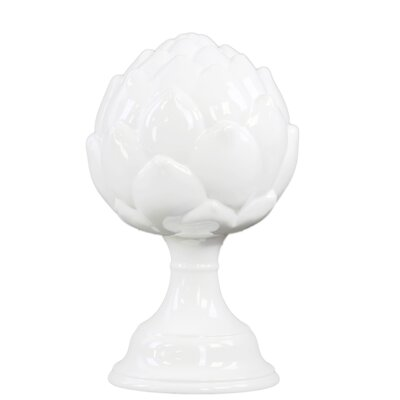 Ceramic Artichoke Pedestal Figurine in Gloss Finish White