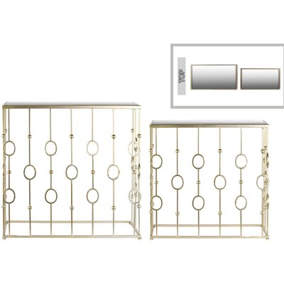 2 Piece Nesting Console Table and Mirror Set