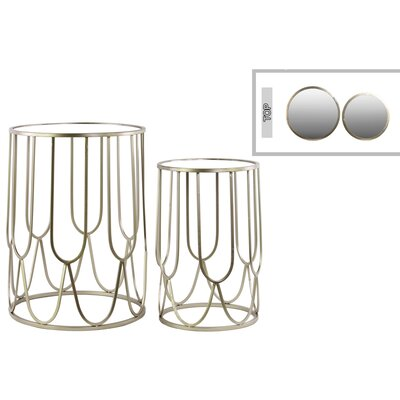 Metal Round 2 Piece Nesting Tables Finish: Silver