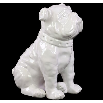 Sitting British Bulldog Figurine Color: White 38441