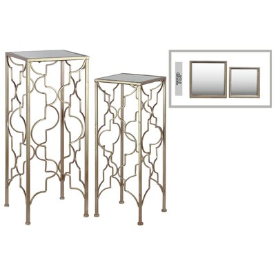 2 Piece Nesting Tables Color: Gold