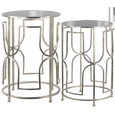 2 Piece Nesting Tables Finish: Antique Silver