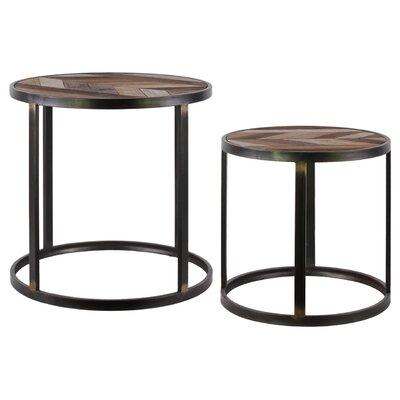 Metal Round Drum 2 Piece End Table Set
